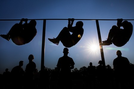 U.S. Military Academy cadets practice their leg tucks during their first Army Combat Fitness Test at West Point, N.Y., July 14, 2020.