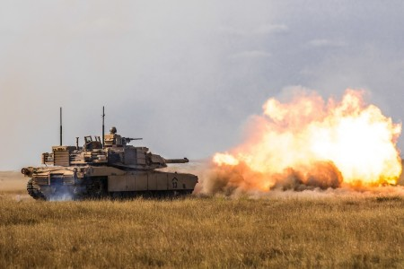 Soldiers participate in their semi-annual tank platoon live-fire exercise on Aug. 25, 2020 in Smardan, Romania.
