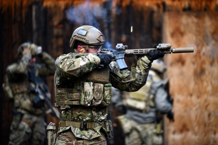 A U.S. Special Operations Forces Soldier assigned to 10th Special Forces Group (Airborne) engages his target during a close-range weapons training exercise held at a shooting range near Stuttgart, Germany, Jan. 28, 2020.