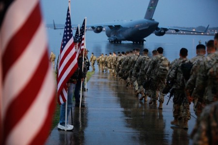 Paratroopers at Fort Bragg, N.C. prepare to board an aircraft bound for the U.S. Central Command area of operations, Jan. 4, 2020.