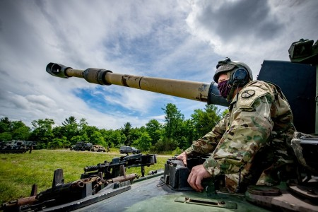 A member of the West Virginia National Guard mans a self-propelled howitzer during training at Camp Dawson, W.V., June 17, 2020.