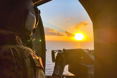 A Soldier looks at the sunrise over Oahu, Hawaii, Jan. 27, 2020.