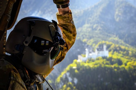 A Soldier passes by Neuschwanstein Castle while transporting COVID-19 tests to Landstuhl Regional Medical Center, Germany, Sept. 15, 2020.