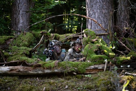 U.S. Army paratroopers provide security for their company from fighting positions on Aug. 12, 2020 as part of Exercise Saber Junction 20 in the Joint Multinational Readiness Center Hohenfels Training Area, Germany.