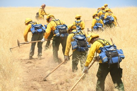 California guardsmen practice cutting fire lines during hand crew training, May 14, 2020 at Camp Roberts, San Miguel, Calif.