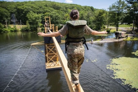 U.S. Military Academy Class of 2023 Cadets participate in the Water Confidence Course during Cadet Field training. The obstacle is meant to build confidence and overcome the fear of heights and water as each cadet attempts the course, comprised of two phases—the slide for life and the beam walk-rope drop on July 28, 2020.