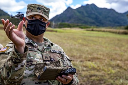 A Soldier trains and certifies on a Soldier-borne sensor at Schofield Barracks, Hawaii, Sept. 3, 2020.