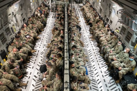 Hawaii National Guard Soldiers and Airmen are airlifted at Kapolei, Hawaii, April 17, 2020.