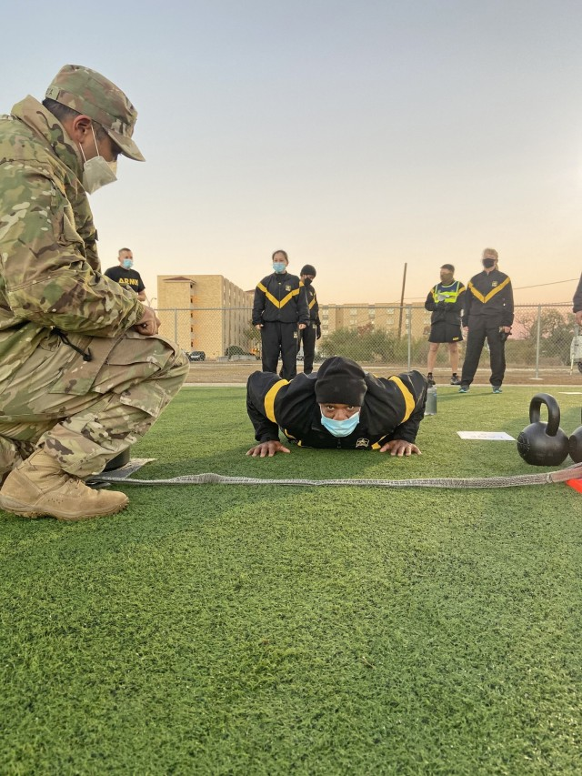 MEDCoE Soldiers taking the Army Combat Fitness Test.
