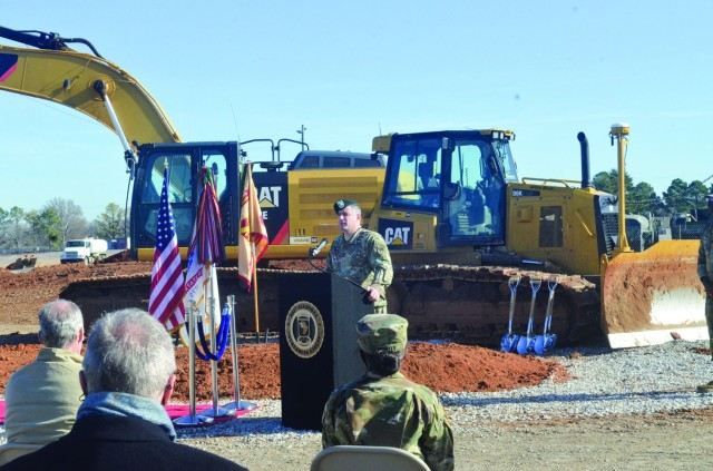 Colonel Jeremy D. Bell, Fort Campbell garrison commander, speaks before a groundbreaking Dec. 9, at the site of the Army Field Support Battalion Installation Maintenance Division complex. When construction is complete in 2022, the complex will provide one place for work currently being done at 28 separate buildings across 11 post locations.