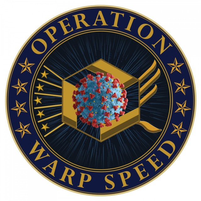 Operation Warp Speed is a partnership among components of the Department of Health and Human Services to produce and deliver 300 million doses of safe and effective vaccines as a part of a broader strategy to accelerate the development, manufacturing and distribution of COVID-19 vaccines, therapeutics and diagnostics. (OWS logo photo- Photo credit Department of Defense)