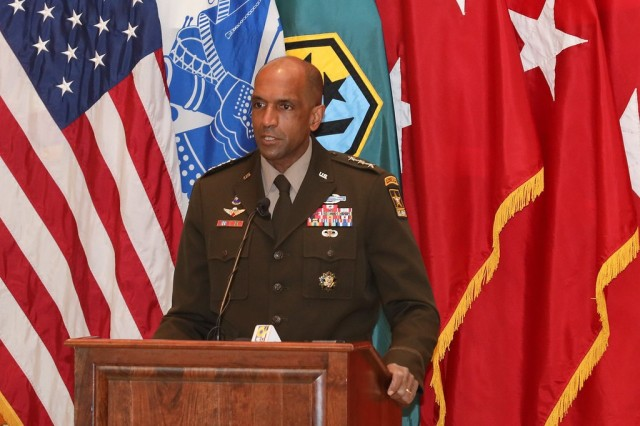 """FORT BENNING, Ga. – Lt. Gen. Gary M. Brito makes keynote remarks Dec. 11 at the National Infantry Museum in Columbus, Georgia on occasion of the unveiling of a new """"Diversity in Leadership"""" display. The display uses informational panels and photos to highlight three African American Soldiers whose service marked historic milestones in the Army's progress toward diversity. The three are: Brito, currently the Army's Deputy Chief of Staff G-1, but who in his previous assignment was the first African American commanding general of Fort Benning and its U.S. Army Maneuver Center of Excellence; Master Sgt. Walter Morris, who served during World War II as first sergeant with the Army's first All-African American Airborne unit, the 555th Parachute Infantry Company; and Master Sgt. Milton """"Davey"""" Lockett, the first African American in Army history to serve as an instructor at Fort Benning's elite U.S. Army Ranger School, and who also served in the Korean War and Vietnam War.(U.S. Army photo by Markeith Horace, Maneuver Center of Excellence and Fort Benning Public Affairs)"""