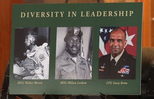 """FORT BENNING, Ga. – Three African American Soldiers are the subject of a new """"Leadership in Diversity"""" display unveiled Dec. 11 at the National Infantry Museum, just outside Fort Benning in Columbus, Georgia. The three are, from left: Master Sgt. Walter Morris, who served during World War II as first sergeant with the Army's first All-African American Airborne unit, the 555th Parachute Infantry Company; Master Sgt. Milton """"Davey"""" Lockett, the first African American in Army history to serve as an instructor at Fort Benning's elite U.S. Army Ranger School, and who also served in the Korean War and Vietnam War; and Lt. Gen. Gary M. Brito, currently the Army's Deputy Chief of Staff G-1, but who in his previous assignment was the first African American commanding general of Fort Benning and its U.S. Army Maneuver Center of Excellence. Brito was the event's guest of honor and keynote speaker.(U.S. Army photo by Markeith Horace, Maneuver Center of Excellence and Fort Benning Public Affairs)"""
