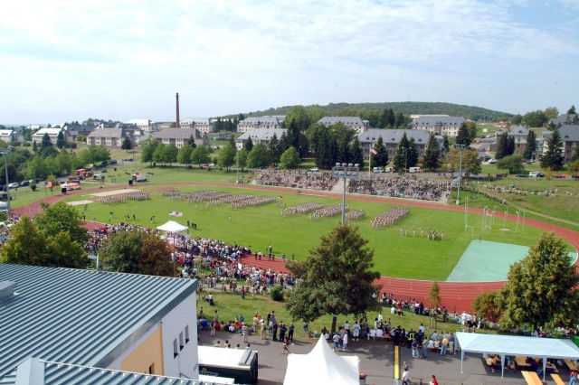 This photo of a change of command ceremony shows Minnick Field today.
