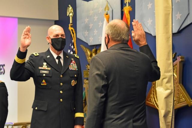 Maj. Gen. Thoms promotion ceremony - Maj. Gen. Thoms renews his commissioning oath