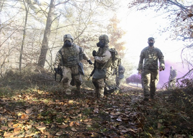 Over 300 personnel at Landstuhl Regional Medical Center participated in Operation Courageous Ascent, a training exercise designed to test medical operations in austere environments, Nov. 17-19. The exercise tested medical personnel on a variety of combat medical skills such as applying combat action tourniquets, casualty evacuation, dismounted patrolling, land navigation, movement under fire, communications protocol, identifying and reacting to improvised explosive devices and chemical, biological, radioactive and nuclear attacks.