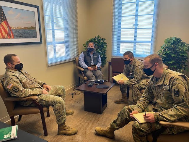 Personnel from U.S. Army South, Joint Base San Antonio and mission partners conduct debriefing rehearsals at the Army South Debriefing Facility Dec. 2 during the annual Personnel Recovery Reintegration Working Group. U.S. Army South hosted the annual Personnel Recovery Reintegration Working Group Dec. 1-3 at Fort Sam Houston, Texas, as part of the command's role to facilitate the personnel recovery reintegration process. Army South is U.S. Southern Command's designated command to conduct phase one and phase two reintegration for all Soldiers, Sailors, Airmen, Marines and DoD civilians and contractors in the SOUTHCOM area of responsibility. Additionally, Army South conducts Army service-level phase three reintegration for all Soldiers and DA civilians and contractors worldwide. Army South also has a memorandum of understanding with the other services to support service phase three reintegration at JBSA.