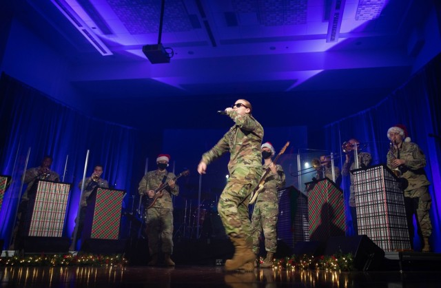 U.S. Army Training and Doctrine Command Band members rock out for their virtual holiday show held on Dec. 10, 2020. (U.S. Army photo by Staff Sgt. Osvaldo Corea)