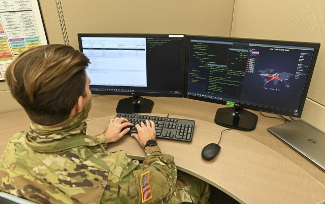 A U.S. Army National Guard Soldier with the 125th Cyber Protection Battalion, South Carolina National Guard, provides cyber support as part of their Military Occupational Specialty. (U.S. Army National Guard photo by Sgt. Tim Andrews, South Carolina National Guard)