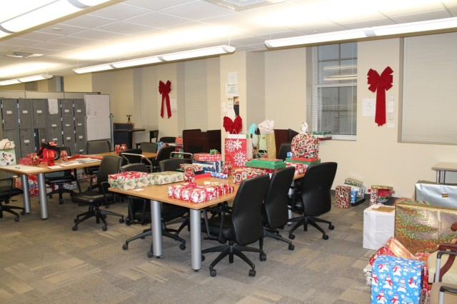 Gifts pile up in the U.S. Army Environmental Command break room.