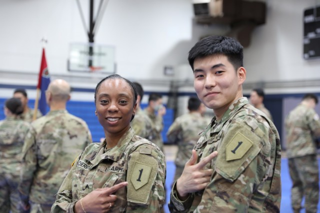 The 2nd Armored Brigade Combat Team, 1st Infantry Division formally welcomes their Korean Augmentation to the U.S. Army, or KATUSA Soldiers, to the Dagger team at Hovey Gym, Republic of Korea. The ROK-U.S. alliance is critical to sustaining peace on the Korean peninsula and across the region. (U.S. Army photo by Staff Sgt. Simon McTizic)