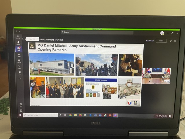 Members of the U.S. Army Sustainment Command team participated in ASC's virtual town hall Dec. 15 via Microsoft Teams, as shown here on a laptop used by a teleworking employee. (Photo by Paul Levesque, ASC Public Affairs)