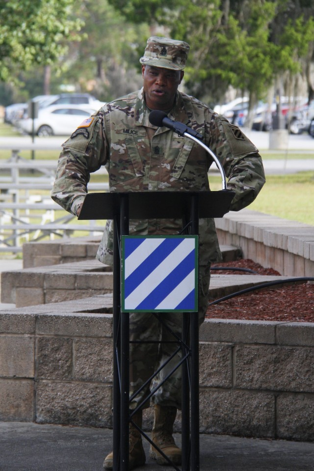 Command Sgt. Maj. Jean Milice, the incoming senior enlisted advisor for Headquarters and Headquarters Battalion, 3rd Infantry Division, addresses attendees during a change of responsibility ceremony at Marne Garden on Fort Stewart, Georgia, Oct. 23, 2020. Milice assumed responsibility from Command Sgt. Maj. Paulette Abraham, who is retiring after more than 30 years of service.(U.S. Army photo by Pfc. Aaliyah Craven, 50th Public Affairs Detachment)