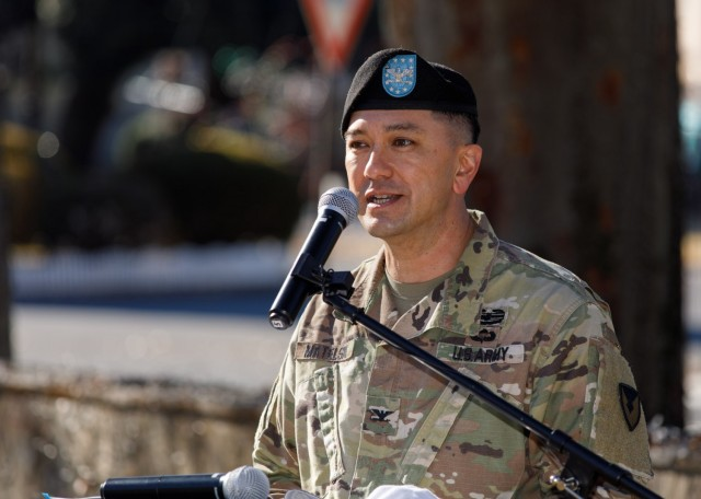 Col. Thomas Matelski, commander of U.S. Army Garrison Japan, speaks during the assumption responsibility ceremony for Command Sgt. Maj. Justin E. Turner, the garrison's incoming command sergeant major, at Camp Zama, Japan, Dec. 17.