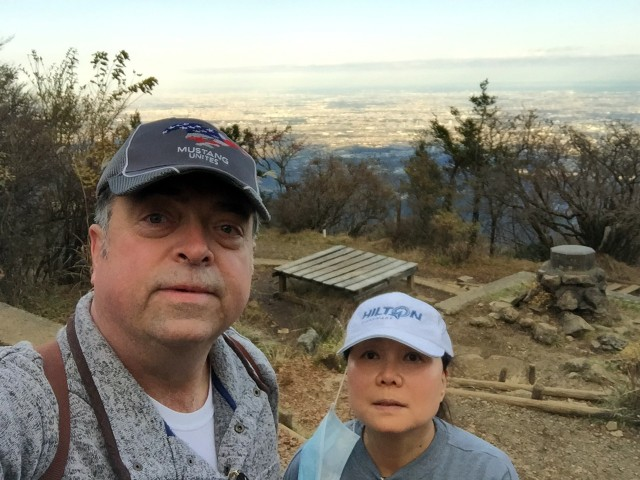 Bobby and Kim Rakes look concerned as they take a quick photo at the top of Mount Oyama, Japan, Nov. 11. Their trip down the mountain, much of it in the dark, became an ordeal.