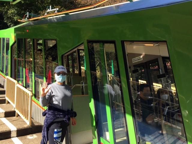 Kim Rakes boards the cable car at Mount Oyama, Japan, Nov. 11. Many hikers take the cable car to Afuri-jinja Station, near Oyama Afuri Shrine Shimosha, before starting their hikes.