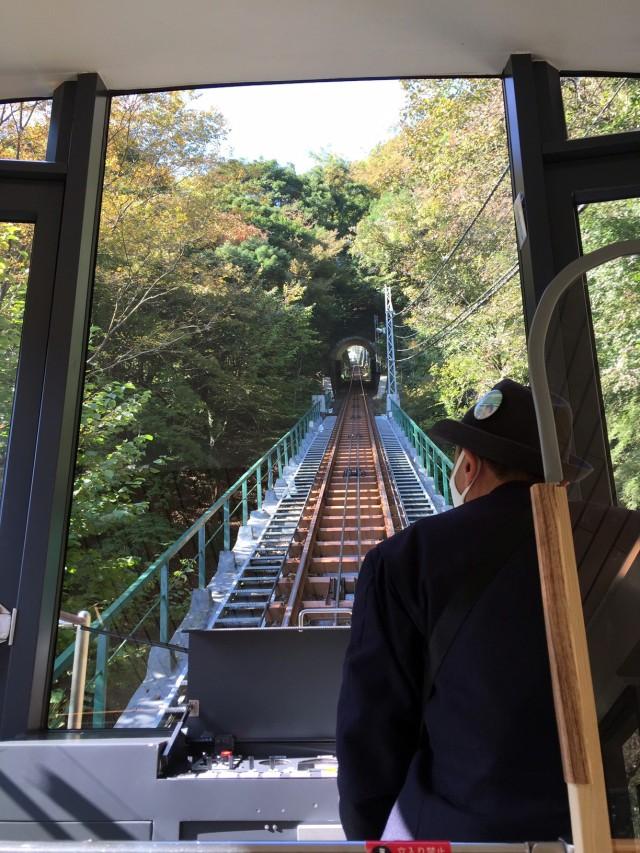Bobby and Kim Rakes take the cable car up Mount Oyama, Japan, Nov. 11. Many hikers take the cable car to Afuri-jinja Station, near Oyama Afuri Shrine Shimosha, before starting their hikes.