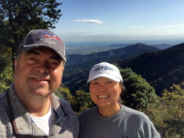 Bobby and Kim Rakes start their hike of Mount Oyama, Japan, Nov. 11.