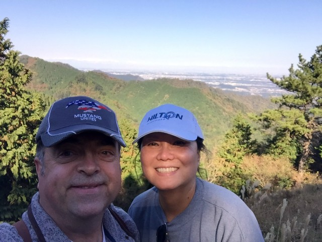 Bobby and Kim Rakes stop to take a photo after hiking for 40 minutes on Mount Oyama, Japan, Nov. 11.