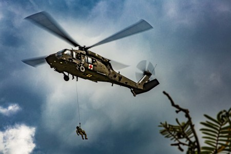 U.S. Army Soldiers demonstrate a medical evacuation during a joint exercise in Zambrano, Honduras, Oct. 22, 2020.