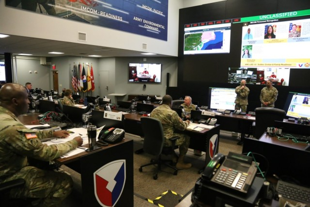 Gen. Edward Daly, Commanding General of Army Materiel Command, and Cmd. Sgt. Maj. Alberto Delgado, AMC's senior enlisted leader, address Lt. Gen. Douglas M. Gabram, Commanding General of U.S. Army Installation Management Command and other leaders in the IMCOM Operations Center Dec. 17, 2020.