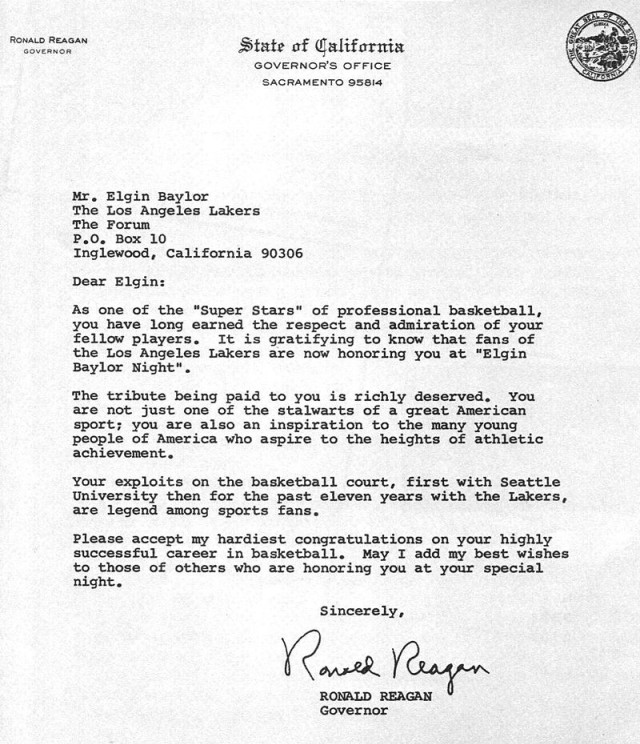 In an undated letter, then-California Gov. Ronald Reagan congratulates Elgin Baylor as he is honored by the LA Lakers at Elgin Baylor Night in 1969.