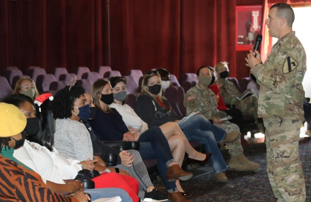 "Col. Ian Palmer, commander, 2nd Armored Brigade Combat Team, speaks to Soldiers across his formation to introduce ""Sisters in Arms"" a Women Mentorship Program Dec. 17 at Fort Hood Texas. The program's intent is for young female Soldiers to find a mentor, offer coping mechanisms, help them build resilience and help them understand all the resources available to them."