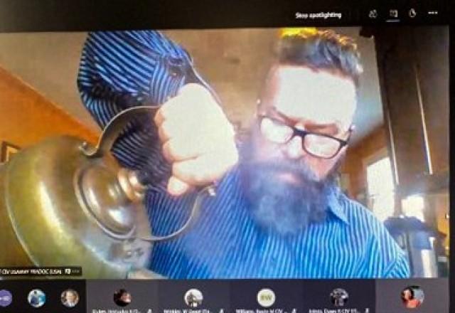 Dr. Joe Rainer, U.S. Army Training and Doctrine Command deputy command historian, presents a chai tea making class during a G-2 Coffee Talk virtual meeting Dec. 16, 2020. (Courtesy screenshot photo)