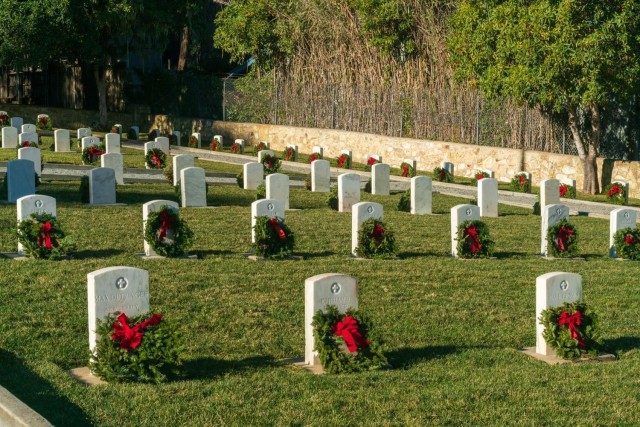 The Presidio of Monterey cemetery adorned with holiday wreaths during the fourth annual Wreaths Across America event on Saturday, December 19.