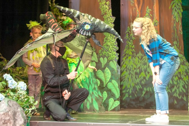 "The KMC Onstage production of ""Dinosaurs Before Dark"" won several awards including being named Outstanding Family Show at the 2020 TOPPERS Awards Dec. 20, 2020. (Photo by SMSgt Jason Harre)"
