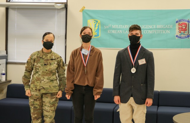 Silver medal winners in speech for the 501st MI Brigade 2020 Korean Language Competition