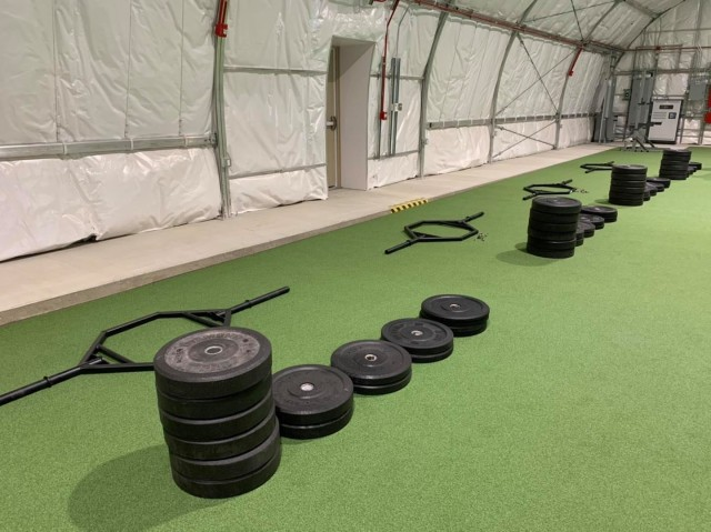 The Combat Readiness Training Facilities, built utilizing the Logistics Civil Augmentation Program (LOGCAP), provides soldiers with a climate controlled space to exercise and train throughout the year.