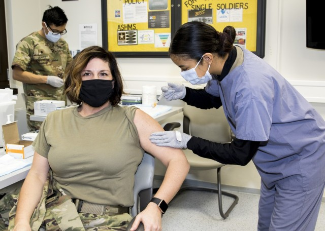 The U.S. Army Health Clinic Kaiserslautern conducted its first inoculations of healthcare workers with the Moderna COVID-19 vaccine on Dec. 30. Clinic Commander Maj. Shara Fisher, a family nurse practitioner, was first the receive the vaccine.