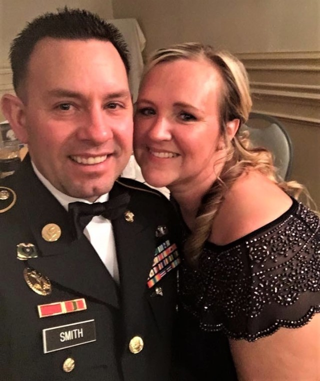 Sgt. 1st Class James Smith and Sarah Smith pose for a photograph during a 2016 military ball at Fort Lee, Va. Smith took part in the 94th Training Force Sustainment Headquarters and Headquarters Company virtual suicide prevention training, where she shared her story about the loss of her husband due to suicide. The 94th TD-FS HHC suicide prevention training was conducted on Oct. 24, 2020.If you or someone you know is in crisis, contact the National Suicide Prevention Lifeline at (800) 273-8255 or Military Crisis Line, free support for all Service members, including members of the National Guard and Reserve, and all Veterans at (800) 273-8255.