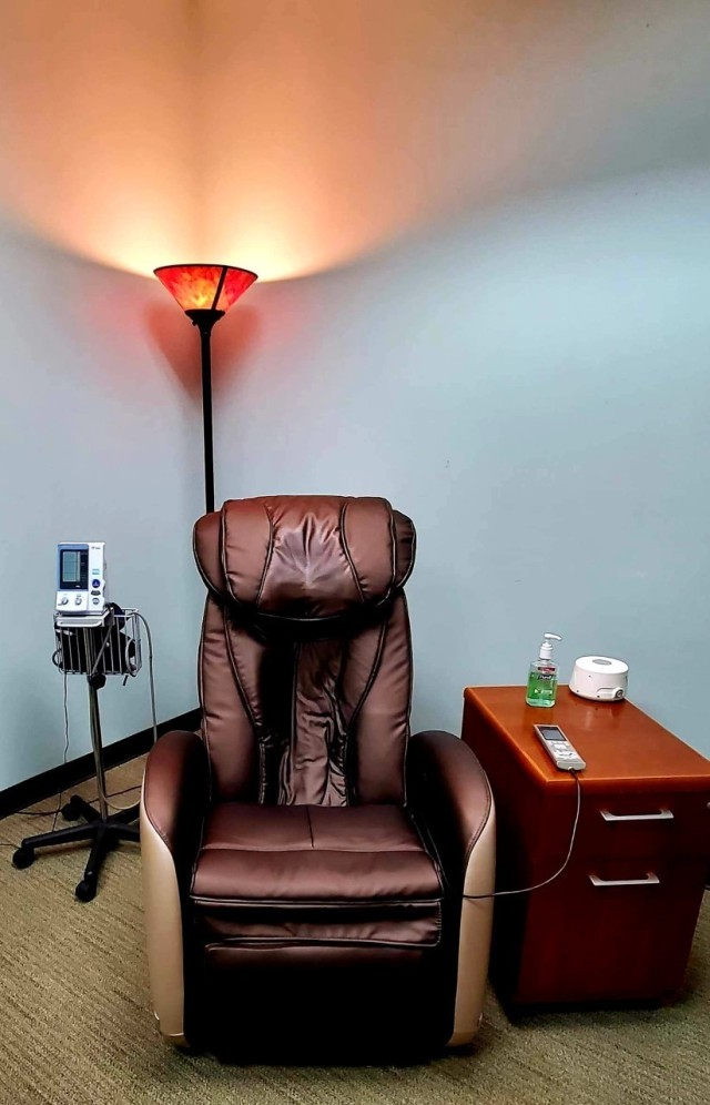 Fort Benning Army Wellness Center offers stress management sessions, complete with massage chair and heart rate monitor.