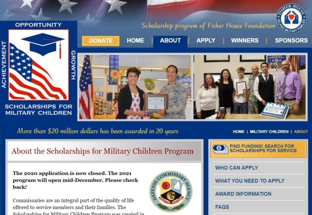 The Scholarships for Military Children Program for academic year 2021 – 2022 begins accepting applications Dec. 14 this year. Applications are due by Feb. 17.