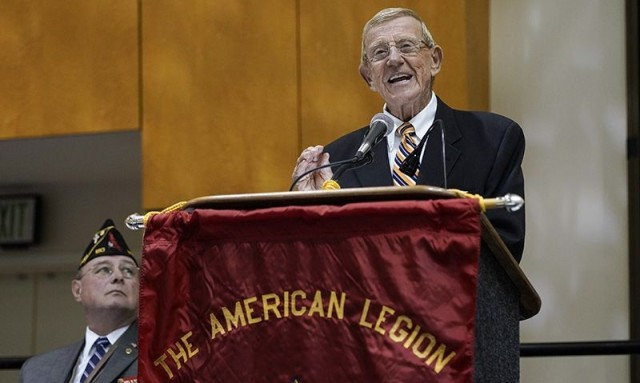Lou Holtz speaks at an American Legion event in Indianapolis where he received the Legion's Good Guy Award, Aug. 26, 2019.