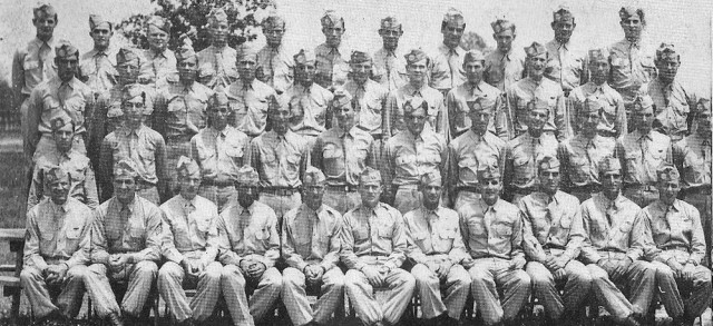 Paratroopers from the Army's Company B, 513th Parachute Infantry Regiment, 17th Airborne Division, pose for an official photo at Camp Forrest, Tenn., in June 1944.