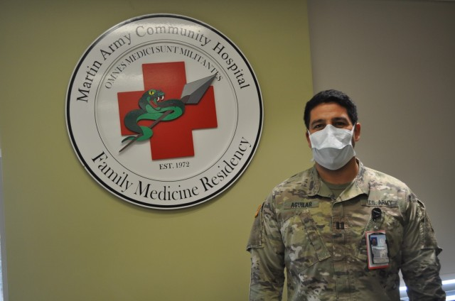 Fort Benning Martin Army Community Hospital Family Medicine Residency Faculty Physician Capt. Michael Aguilar pictured in Family Medicine Residency classroom.