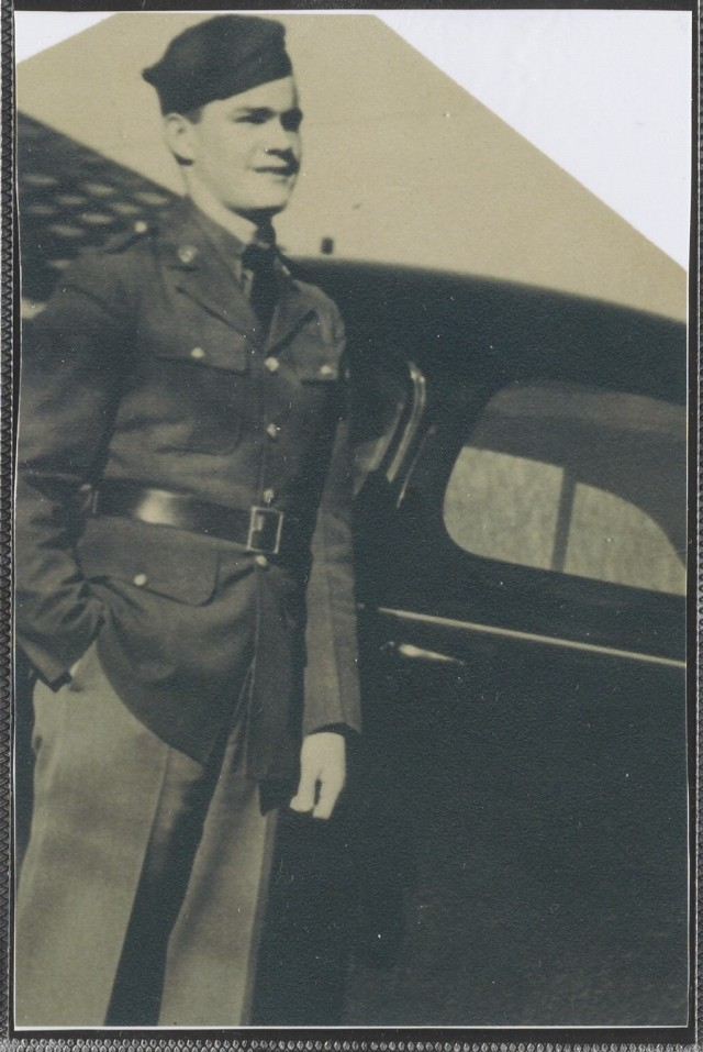 Dan Crowley appears in his military uniform before shipping off to the Philippines in 1940.